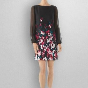 WHBM Jersey Knit Sheer Sleeve Floral Mini Dress 0